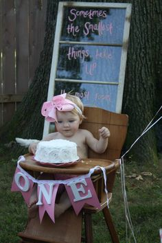 Vintage window as party decor - so many fab details in this shabby chic first birthday!