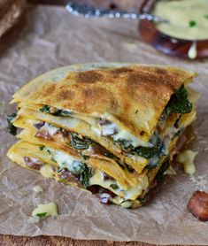 Spinach quesadillas with eggplant & homemade vegan cheese! This easy to make recipe is plant-based, healthy and made with grain-free gluten-free tortillas! Vegan Cheese Recipes, Vegan Cheese Sauce, Gluten Free Recipes, Quesadillas, Vegetarian Quesadilla, Quesadilla Recipes, Vegetarian Cooking, Vegetarian Recipes, Cooking Recipes