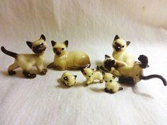 Hagen Renaker Siamese Cat Kittens Lot of 7 Miniatures
