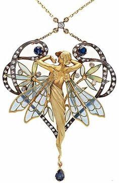 Art Nouveau pendant with plique-à-jour enamel, sapphires and diamonds ~ Masriera Y Carrera