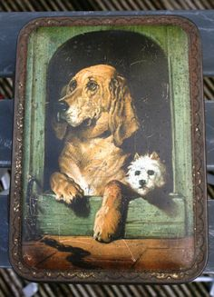 Cadbury Bournville 'Three British Queens' chocolate by Tinternet Vintage Dog, Vintage Tins, Cocoa Chocolate, Animal Fashion, Tin Boxes, Dog Portraits, Small Boxes, Westies, Vintage Advertisements