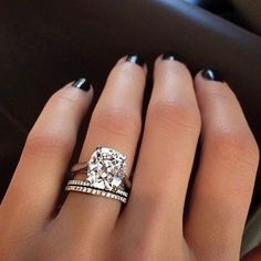 Solitaire cushion cut diamond engagement ring and French pave Stackable rings ✨ #Pinterest #instabling #CushionCutDiamonds