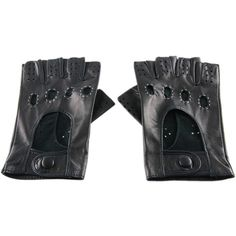 Black Men's Black Leather Fingerless Driving Gloves ($86) ❤ liked on Polyvore featuring men's fashion, men's accessories, men's gloves, mens leather driving gloves, black mens gloves, mens driving gloves and mens leather gloves