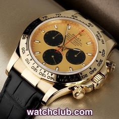 Rolex Cosmograph Daytona Yellow Gold - Box & Papers REF: 116518 | Year Jun 2009 - In absolutely pristine condition, this 18ct yellow gold Rolex Cosmograph Daytona still has its original green hologram sitcker on the back! Sporting a champagne 'exotic' dial with black sub-dials, this model ref.116518 is powered by Rolex's chronometer-rated automatic chronograph movement (cal.4130) and is fitted to a brand new black alligator Rolex strap. Waterproof to 100m - for sale at Watch Club, London