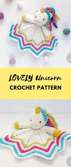 This adorable Unicorn lovey is a plush toy and security blanket all in one! It's perfect for baby's little hands and will surely become a friend for your baby. You can create something really special for your little one! Sweet Unicorn Lovey Pattern | Security Blanket | Crochet Lovey | Baby Lovey Toy | Blanket Toy | Lovey Blanket PDF Crochet Pattern #ad