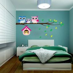 Owl Family on Tree Branch Wall Sticker