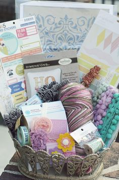 Sewing and Knitting Hamper with projects, wool and accessories.