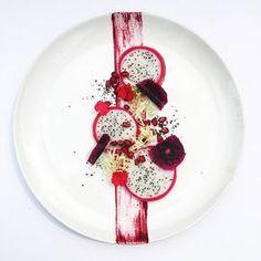 Vietnamese dragon fruits / dehydrated purple dragon fruits / pomegranate / frisée / beet purée • สลัดแก้วมังกร