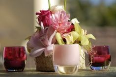 glassybaby / floral centerpiece