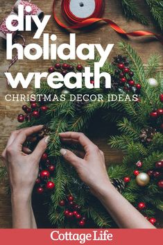 Make this DIY wreath for the holiday season. This craft is a great idea for DIY Christmas decor. #christmas #diydecor #homedecor #christmascraft #craft #DIY #CottageLife Cottage Christmas, Christmas Crafts, Christmas Decorations, Xmas, Wire Wreath Frame, Cottage Crafts, Holly Berries, Diy Wreath, Holiday Wreaths