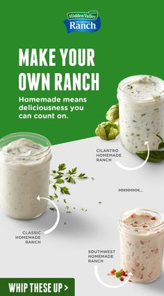 Homemade Ranch just got better. 9 homemade ranch recipes you can whip up with our Original Ranch Seasoning Mix. Homemade Spices, Homemade Seasonings, Molho Ranch, Sauce Recipes, Cooking Recipes, Roast Recipes, Homemade Ranch Dressing, Salsa Picante, Salad Dressing Recipes