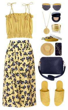 """Yellow and Blue"" by gicreazioni ❤ liked on Polyvore featuring Mother of Pearl, Sunday Somewhere, Christian Dior, Oribe, Rachel Jackson, Warehouse, Humble Chic and Casetify"