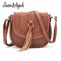 New Famous Brand Women Crossbody Shoulder Bag For Ladies Simple Solid  Messenger Bags Vintage Style Handbag Tassel Female Saddle. baacacda60