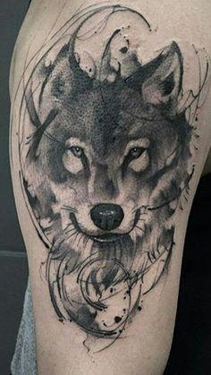 70 Majestic Wolf Tattoos For True Free Spirits Wolf Tattoos, Animal Tattoos, Black Tattoos, Wolf Face Tattoo, Tatoos, Small Tattoos, Wolf Tattoo Design, Wolf Tattoo Sleeve, Sleeve Tattoos