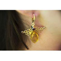 Aranyozott ezüst medál és fülbevaló szett borostyán és gránát kővel /68789/ 3 Earrings, Jewelry, Ear Rings, Stud Earrings, Jewlery, Jewerly, Ear Piercings, Schmuck, Jewels