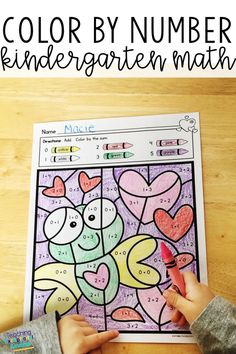 Valentine's Day Color by Number Worksheets Kindergarten Math Number Worksheets Kindergarten, Kindergarten Classroom, Kindergarten Activities, Valentine Theme, Valentines, 2nd Grade Classroom, Math Resources, Early Finishers, Number Sense