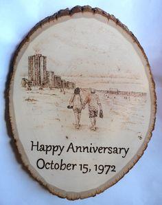 "Shari's Parents: 40th Anniversary, 8"" x 10"" Wood Burning, September 2012 www.geekburning.com Facebook: https://www.facebook.com/GeekBurning"