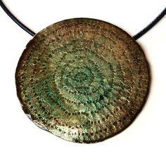 Hana Bendová - necklace (enamel on copper, leather)