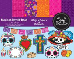 Day of Dead, Mexican, Digital Kit, Papel Digital, Instant Download, High Resolution, Sugar Skull, Calavera, Catrina, Dia de Muertos, Clipart