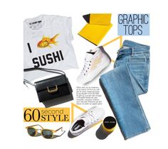 """""""60 Second Style: Graphic T-Shirts"""" by mada-malureanu ❤ liked on Polyvore featuring Anja, Garance Doré, Laurence Dacade, jeans, graphictshirt and 60secondstyle"""