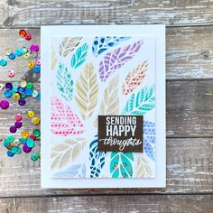 Sharp Designs: The Card Concept #140- Fanciful Fall Leaf Stencil, White Gel Pen, Glitter Gel, Small Canvas, Pretty Patterns, Lawn Fawn, Hero Arts, Gel Pens, All The Colors