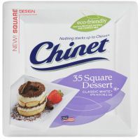 Chinet White Square Dessert Plates, 6 3/8