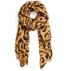 Women's Roffe Accessories Leopard Print Scarf (2.195 RUB) ❤ liked on Polyvore featuring accessories, scarves, leopard print shawl, fringe shawl, polka dot scarves, roffe accessories and leopard print scarves