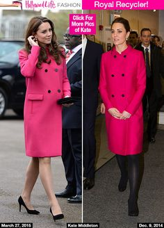 The Duchess of Cambridge recycled her chic hot pink coat for her last public appearance on March 27 before giving birth to baby number 2. Description from hollywoodlife.com. I searched for this on bing.com/images