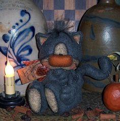 Primitive Halloween Fall Kitty Cat Doll Pattern #603 #PattisRatties