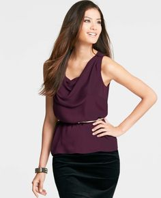 Ann Taylor, Crinkle Georgette Cowl Neck Top  Style #293383