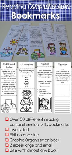 This set of 50 plus bookmarks will help your students write about and think… Comprehension Strategies, Reading Strategies, Reading Activities, Reading Skills, Teaching Reading, Reading Comprehension, Guided Reading, Teaching Ideas, Common Core Curriculum