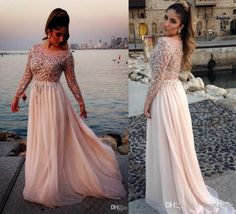 2014 Gorgeous Crystal Beaded Elie Saab Prom Dresses Sheer Scoop Neck Long Sleeves A-Line Floor-Length Chiffon Evening Gowns Pageant Dress, Free shipping, $133.33/Piece | DHgate Mobile