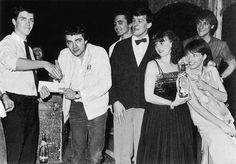 Young Hugh Laurie, Rowan Atkinson, Tony Slattery, Stephen Fry, Penny Dwyer, Emma Thompson And Paul Shearer Winning The First Perrier Comedy Awards, 1981