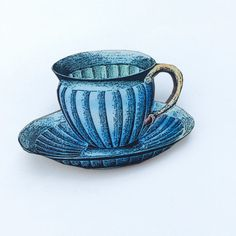 Blue Striped Teacup Wooden Brooch Pin Gift by LaviniasTeaParty