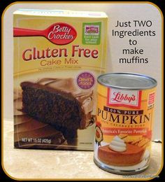 Open the cake mix and dump into a mixing bowl, then open the can of pumpkin and dump into the bowl. Now mix together.I use two spoons to drop the mix into a greased muffin pan. Bake at 350 for 25 minutes. This will make 12 muffins.