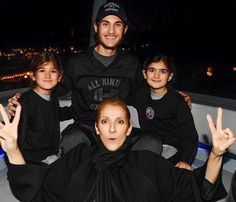 Celine Dion with her 3 sons.