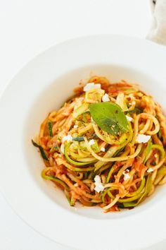 Tomato Basil Zucchini Pasta with Goat Cheese and Asparagus