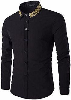 jeansian Men's Gold Leaf Embroidery Long Sleeves Shirts Black M African Men Fashion, African Wear, Mens Fashion, Formal Shirts, Casual Shirts, Men's Shirts, Dress Shirts, Long Sleeve Shirt Dress, Long Sleeve Shirts