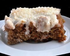Award Winning Carrot Cake with Toasted Coconut Cream Cheese Frosting (252 Calories) | Honey, What's Cooking?