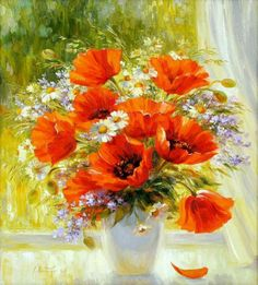 Orange poppies with daisies in white vase, watercolor