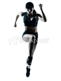 woman runner jogger jumping Royalty Free Stock Photo