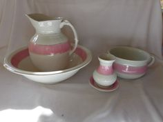 ANTIQUE 1920 IRONSTONE POTTERY PINK BAND WASH SET JUG BASIN CHAMBER POT Prospect Hill, Modern Rustic, 1920s Bedroom, Pottery, Basins, Vintage Stuff, Antiques, Pink, Accessories