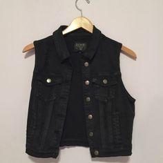 Black Denim Sleeveless Jacket black denim sleeveless jacket, NEVER WORN! it says size L, but it fits like a small! Super trendy and edgey Love Culture Jackets & Coats Jean Jackets
