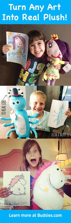 Drawings into Custom Stuffed Animals Have your kids draw something and then turn it into a REAL stuffed animal! Super easy to order and just [. Softies, Fun Crafts, Crafts For Kids, Diy Cadeau, Diy Y Manualidades, My Bebe, Idee Diy, Drawing For Kids, Activities For Kids