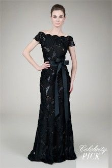 Embroidered Mini Paillette Gown in Black / Nude