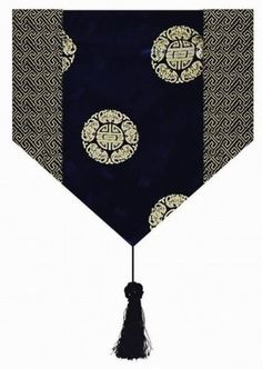 Gorgeous Oriental Brocade Table Runner CHINESE FORTUNE SYMBOL (BLACK)