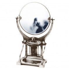 Specchio in peltro rotondo da appoggio in stile liberty finitura lucida