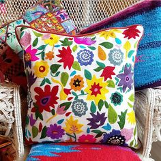 #Boho treasurehunter found a beautiful #flowerpower #interior treasure  #Colorful #Folkloric #embroidered Pillow for the #Home Sanctuary #eclecticliving  #MilagrosMundo your #local #Wanderlust #hippie #Bohemian #lifestyle #Giftstore with...