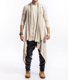 Cream gray draped cardigan / Beige draped mens cardigan / You are in the right place about Cardigan diy Here we offer you the most beautiful pictures about the Cardigan patrones you are looking for. Sleeveless Cardigan, Beige Cardigan, Drape Cardigan, Indian Men Fashion, Mens Fashion, Fashion Outfits, Fashion Black, Fashion Ideas, Warm Outfits