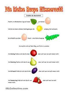 3 Aufgaben: Geschichte nacherzählen, Rätsel lösen (Wortschatzerweiterung: Lebensmittel, Wochentage) - DaF Arbeitsblätter